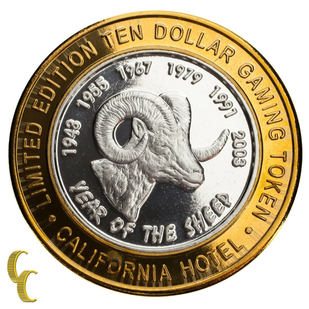 Sam Boyd's California Hotel $10 Casino Gaming Token Year of the Sheep 999 Silver