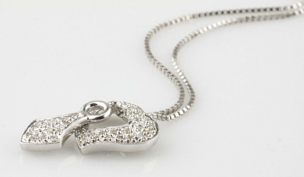 "14k White Gold Diamond Unique Heart Lariat Necklace TDW = .22 ct 19""5 Long"