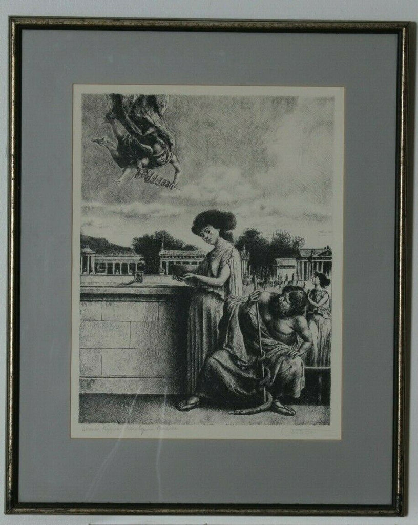 """Hermes, Hygeia, Aesculpaius, Panacea"" Etching on Paper by Federico Castellon"