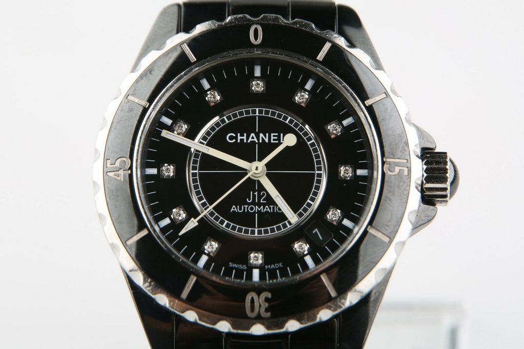 Chanel J12 Diamond Dial Steel Black Ceramic H0685 Automatic Wrist Watch