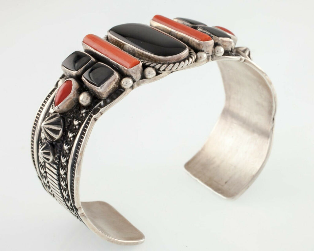 Kaizen Sterling Silver Red Coral and Onyx Native American Cuff Bracelet