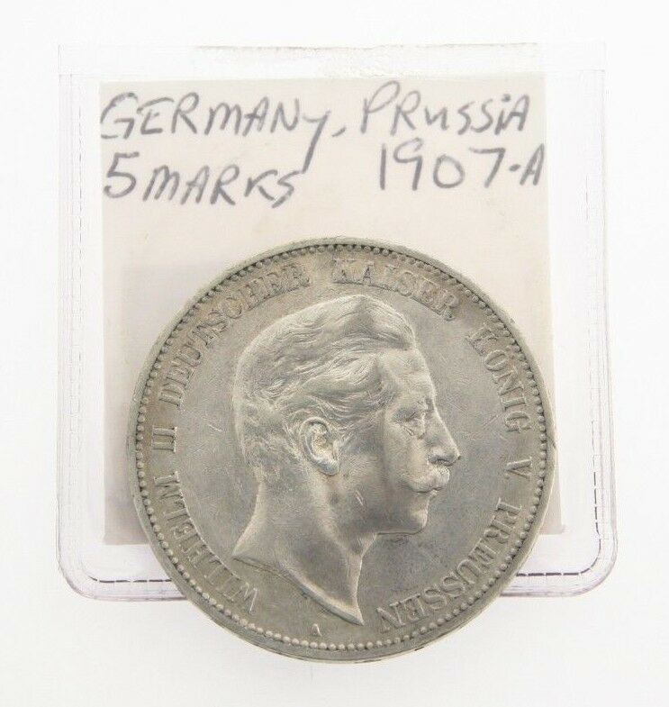 1907-A German States Prussia 5 Mark Coin Wilhem Five Funf Berlin Silver KM-523
