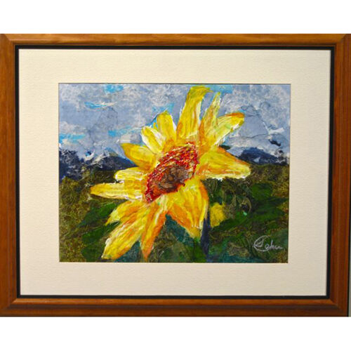 """Daisy"" by Susan Soffer Cohn Framed Mixed Media on Canvas 22.5"" x 18.75"" Gift"