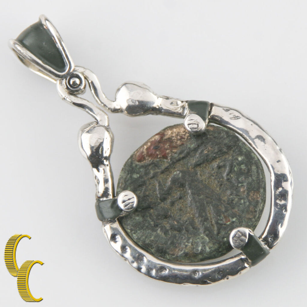 GREEK COIN IN SILVER BEZEL WITH 2 RUBY'S PENDANT