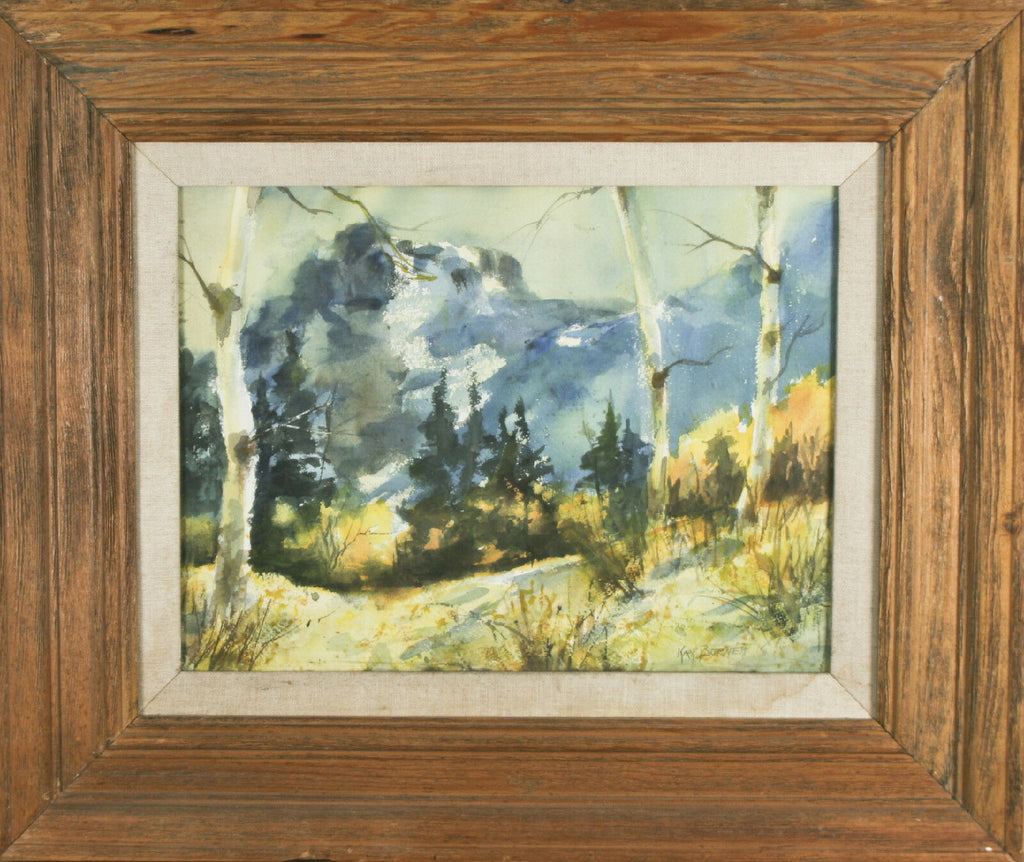 "Landscape Signed Framed Watercolor Painting by Kay Burnett 20 1/2""x24 1/2"""