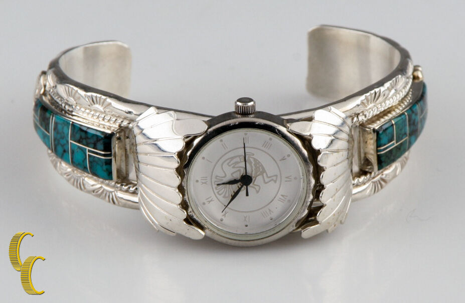 T F Navajo Dancing Indian Sterling Silver Cuff Watch Bracelet Turquoise Accents