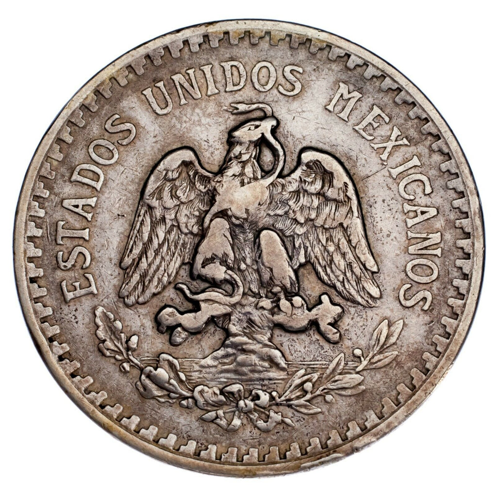 1918/7 Mexico Silver 1 Peso Overstrike VF Condition