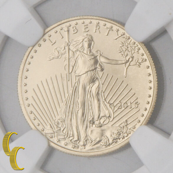 2015 $5 Gold 1/10 oz American Eagle Coin Narrow Reeds NGC MS-70