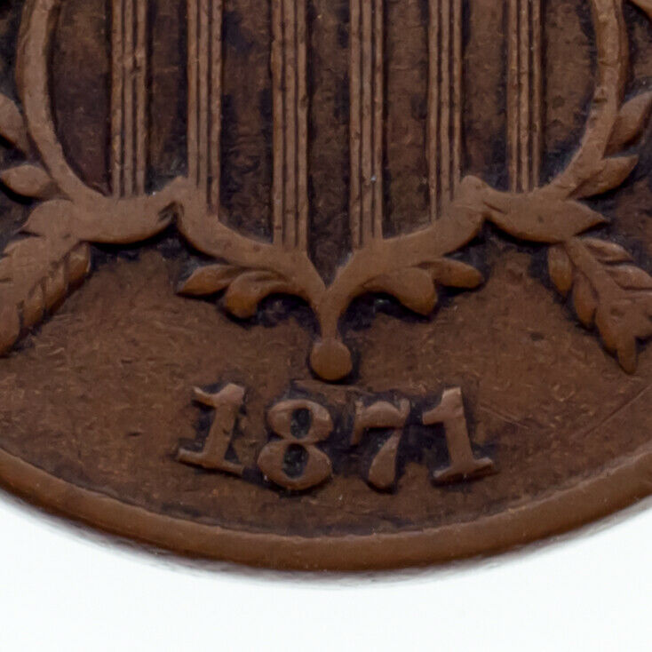 1871 2 Cent Piece in Very Fine Condition, Brown Color