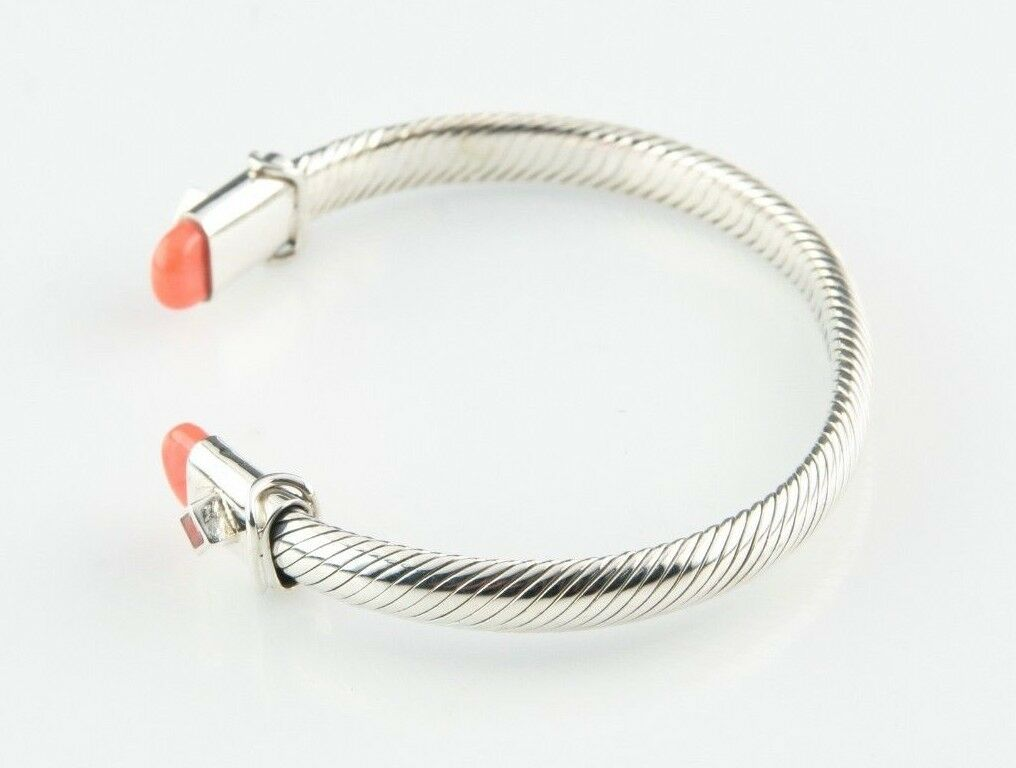 "Sterling Silver Cable Cuff Bracelet w/ Coral Accents 7"" Long 6 mm Wide 29.2 g"
