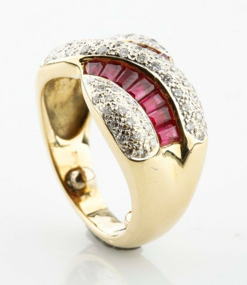 Ruby & Diamond Baguette Cut 18k Yellow Gold Twist Band Ring Size 3.5