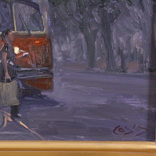"""6:00 STOP"" BY JOHN COSBY OIL ON CANVAS SIGNED LOWER RIGHT 24"" x 24"""
