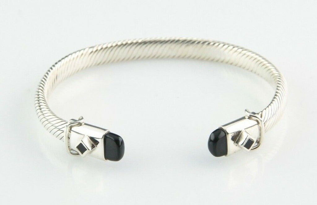 "Sterling Silver Cable Cuff Bracelet w/ Onyx Accents 7"" Long 6 mm Wide 28.6 g"