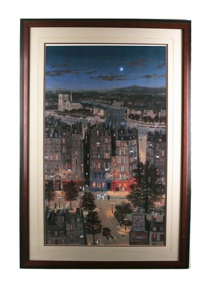 """Paris La Nuit"" by Michel Delocroix Framed Lithograph Print 27"" x 33"" Gorgeous!"
