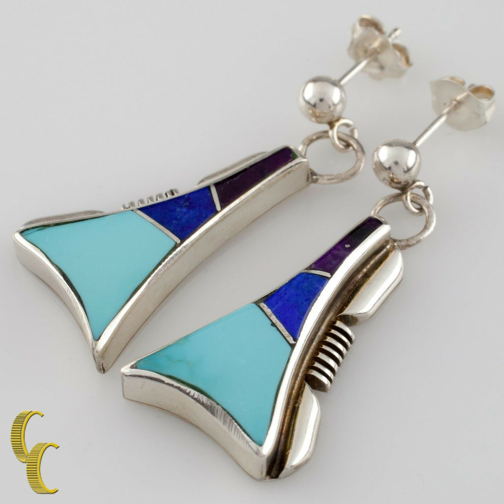 Larry M Chavez .925 Sterling Silver Turquoise & Lapis Navajo Necklace & Earrings