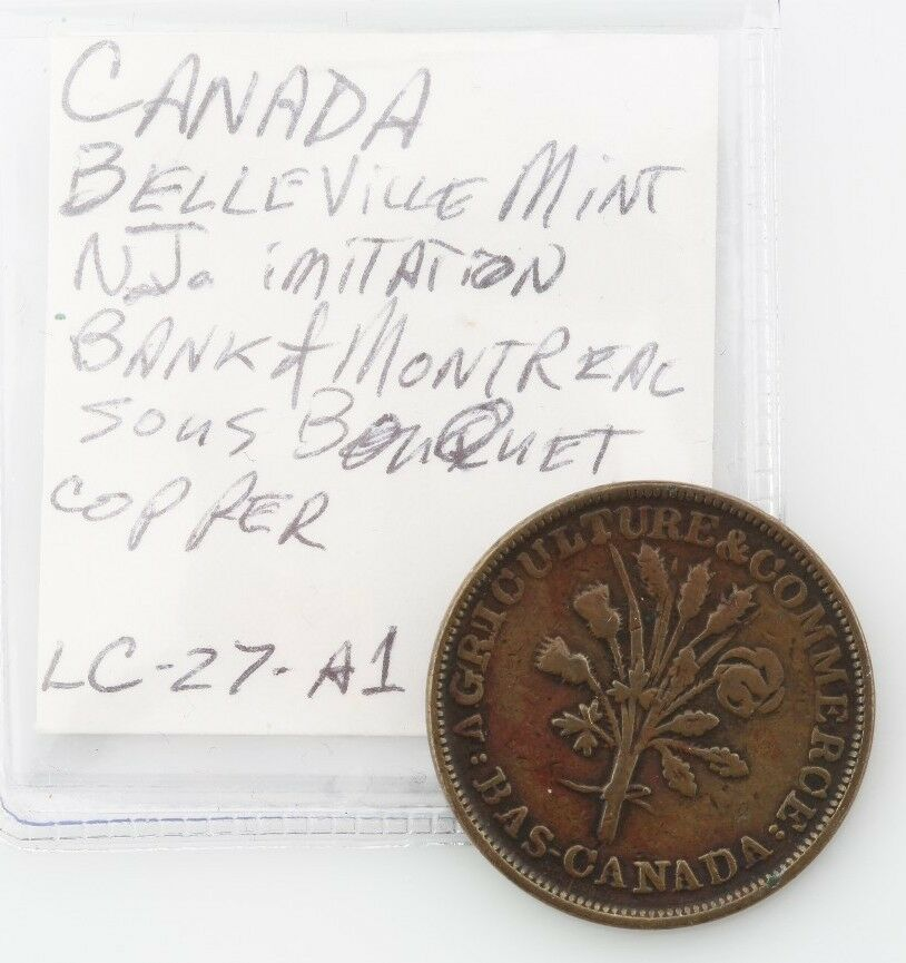 TRADE & AGRICULTURE LOWER CANADA BANK OF MONTREAL TOKEN UN SOUS VERY FINE COPPER
