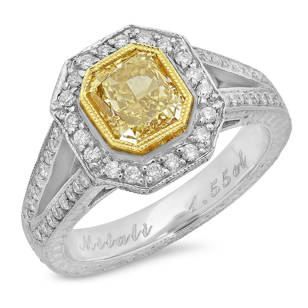18k Two Tone Gold Cushion Fancy Light Yellow Diamond Solitaire Ring TCW 1.99 ct