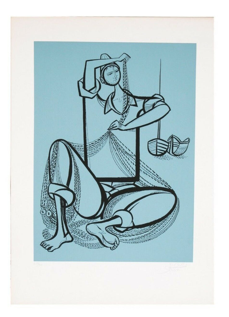 """Fisherman"" by Yossi Stern Lithograph on Paper Limited Edition of 90 w/ CoA"