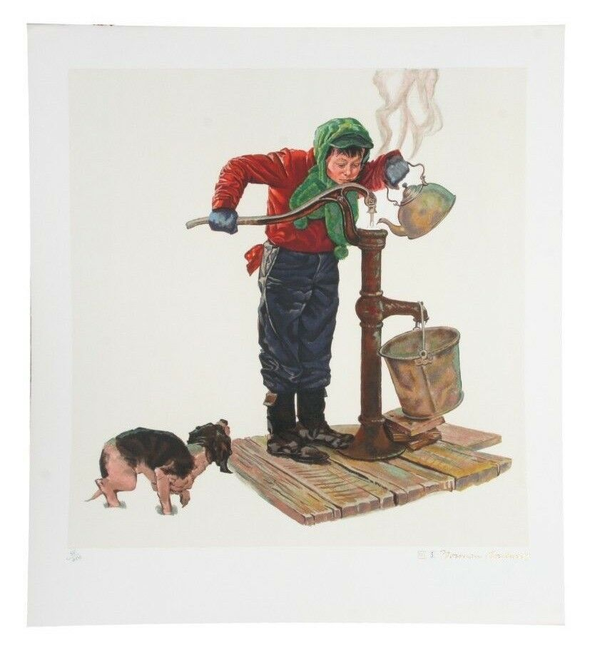 """Winter Morning"" by Norman Rockwell Lithograph on Arches Paper Ettinger Inc."