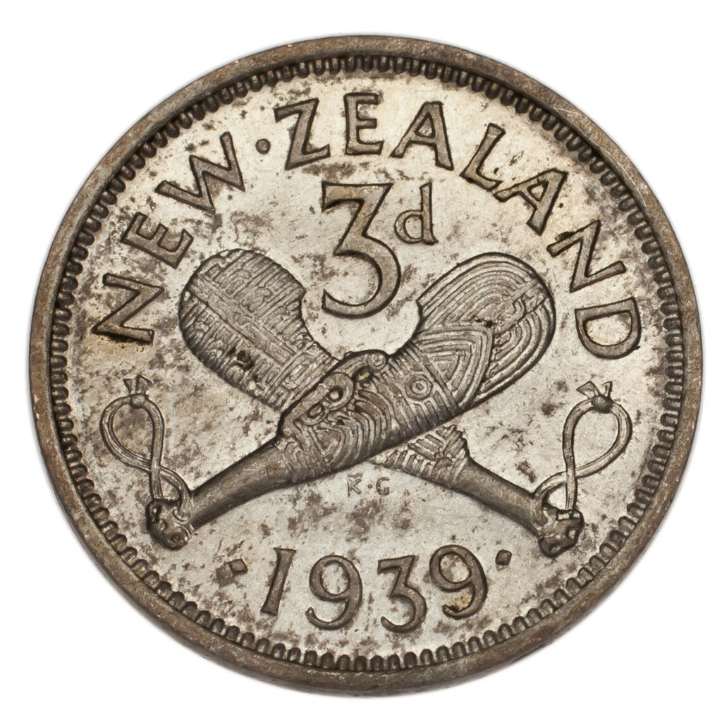 New Zealand 2 Coin Lot Silver 3 Pence 1939 + 1943 Uncirculated Condition