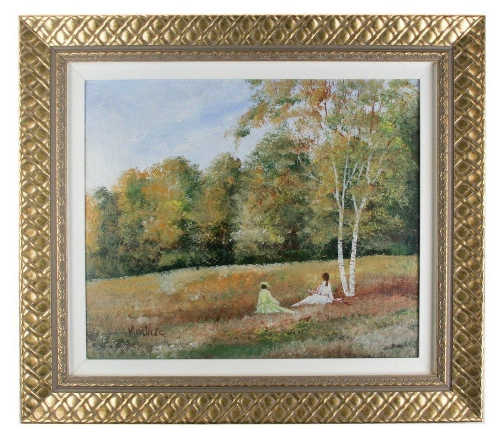 """Reading in the Park"" by Montrec, Oil on Canvas, 20"" x 24"" Framed 1970"