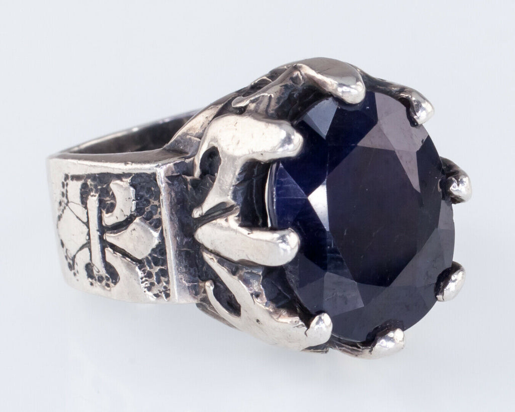 Cullquipuma Sterling Silver Oval Cut Sapphire Ring Heavy Gorgeous!