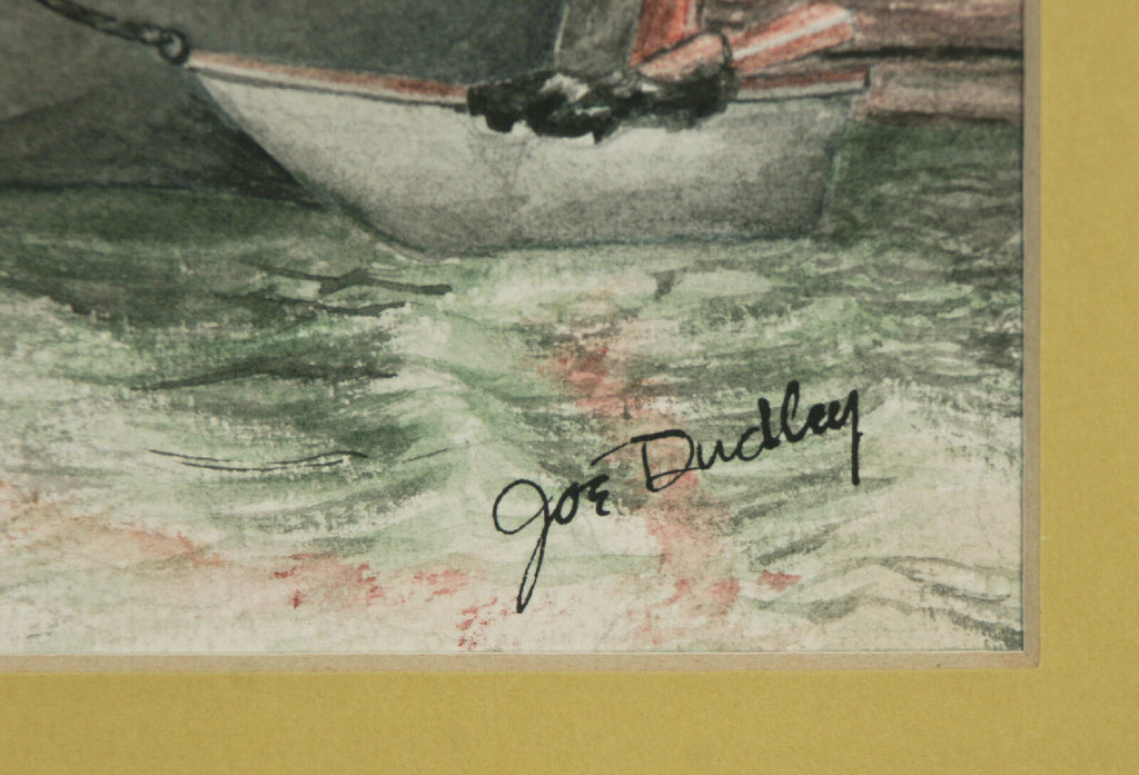 "Untitled (Boat Scence) By Joe Dudley Signed Watercolor Framed 20""x16"""