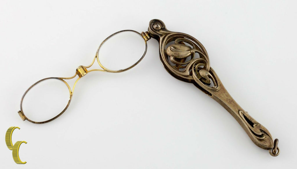 Sterling Silver Antique Ornate Lorgnette Spring-Loaded Glasses All Original