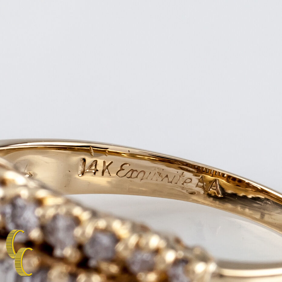2.40 Carat Baguette / Round Diamond 14k Yellow Gold Statement Ring Size: 7.5