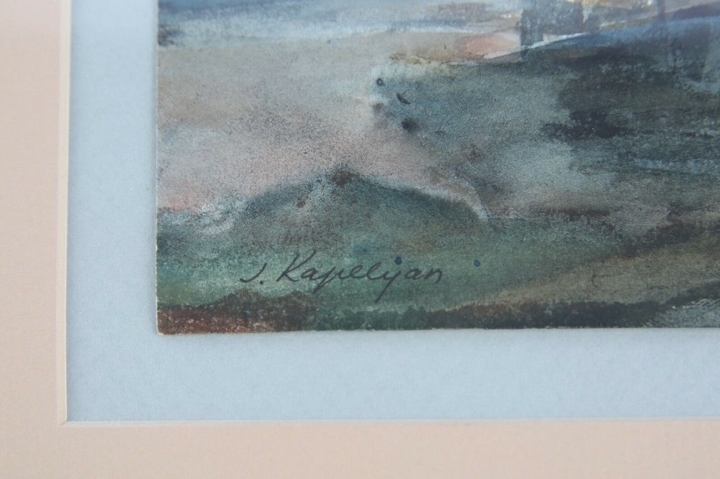Untitled (Boat Painting) by Joseph Kapelyan Watercolor on Paper Signed