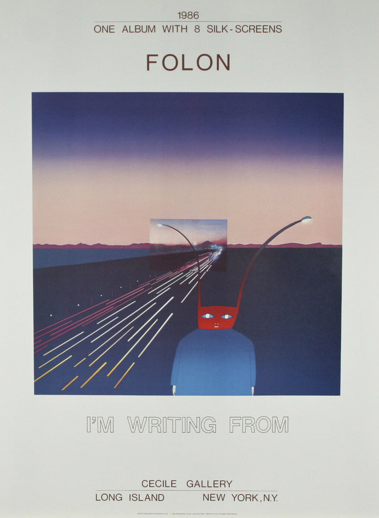 """I Am Writing From Mt. Fuji"" by Jean Michael Folon Poster 30""x22"""