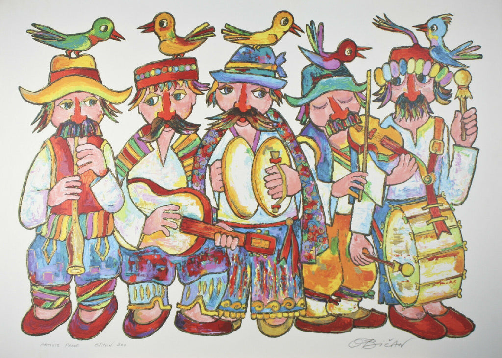 """Five Musicians"" By Jovan Obican Signed Artist's Proof AP of 300 Lithograph"