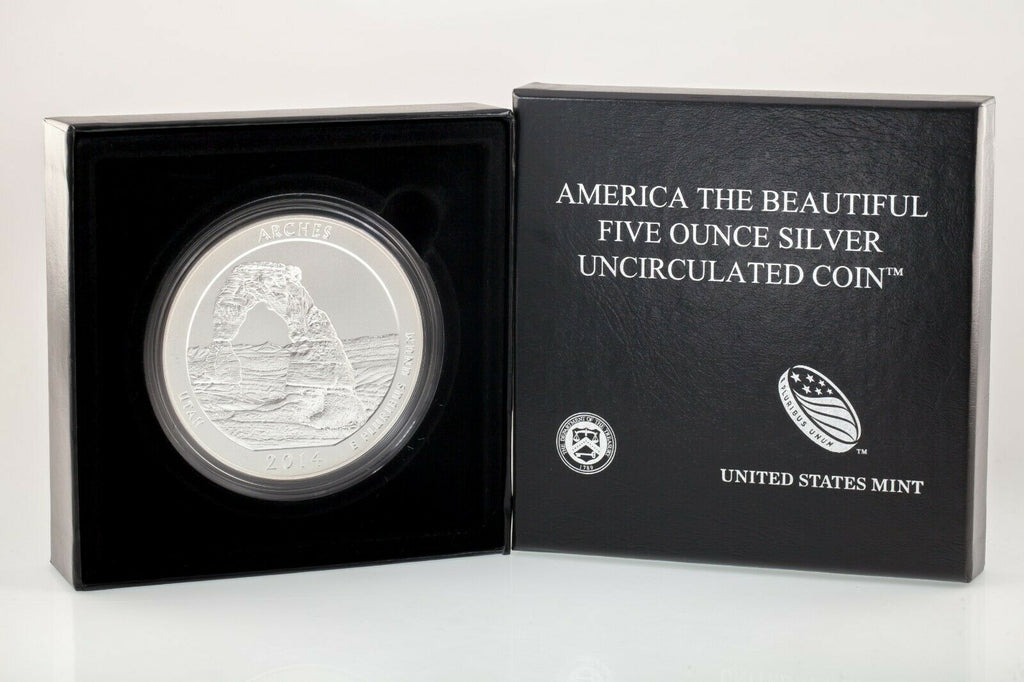 "2014-P 5 Oz. .999 Silver ""America the Beautiful"" Arches Specimen Box & CoA ATB"