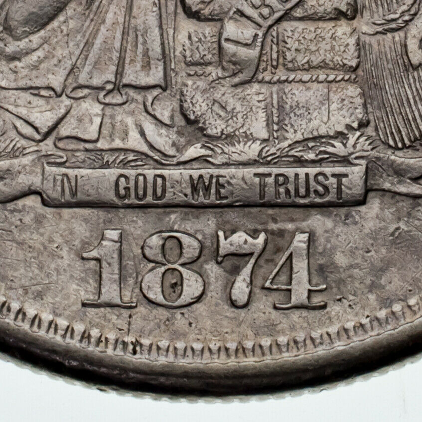 1874-S $1 Trade Dollar in XF Condition, Nice Detail, Light Gray Color