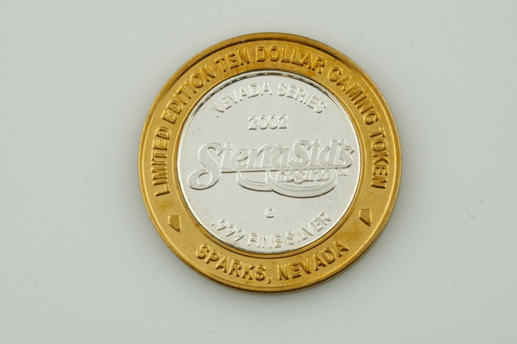 SIERA SID'S, SPARKS NV, $10 TEN DOLLAR GAMING TOKEN .999 FINE SILVER COIN
