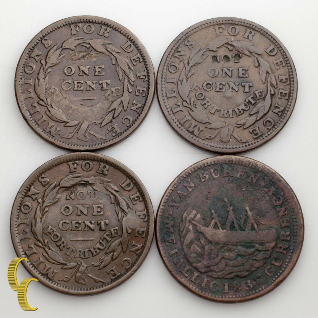1837 & (3) 1841 Hard Times Tokens Lot Of 4 Coins Liberty Not 1 Cent (VF-ABT XF)