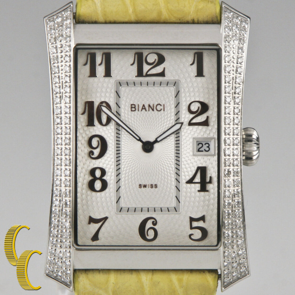 Roberto Bianci Stainless Steel Diamond Women's Watch w/ Leather Band P232