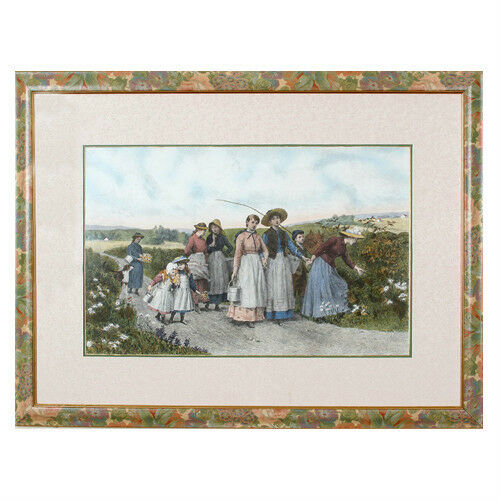 """The Berry Pickers"" by Jennie Brownscombe Colored Aquatint Etching Framed 33x44"