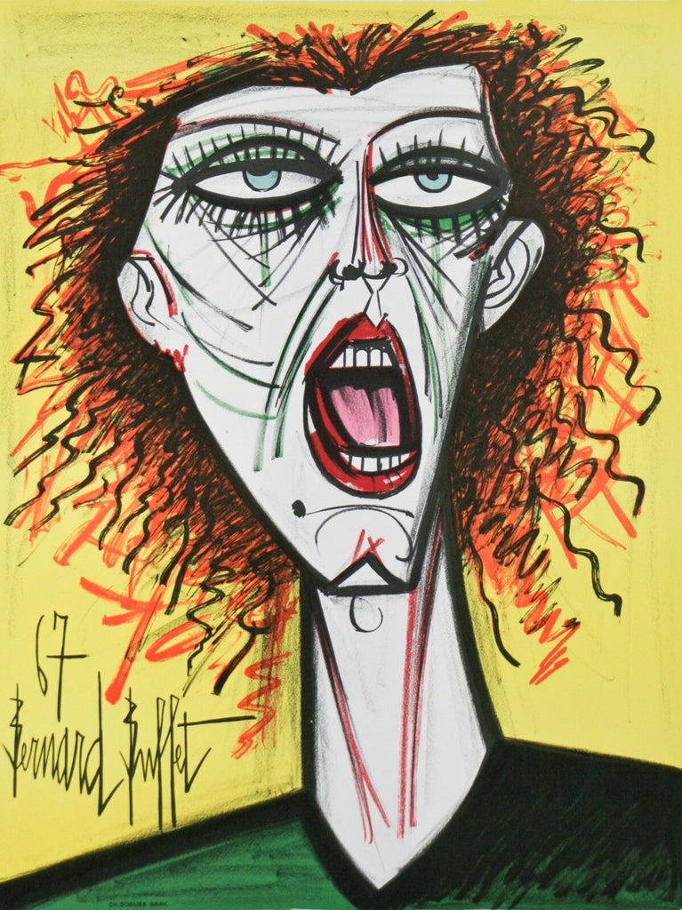 """The Artist's Wife"" by Bernard Buffet Original Lithograph Poster 30""x20 1/2"""