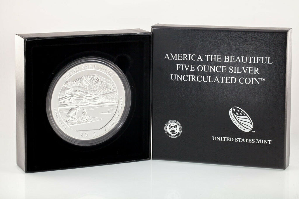 "2014 5 Oz .999 Silver ""America the Beautiful"" Great Sand Dunes Specimen Box CoA"