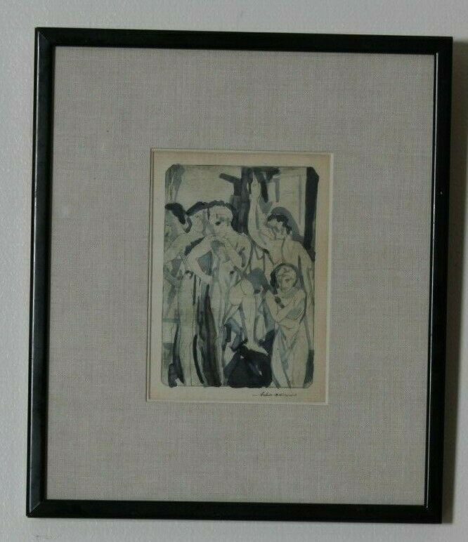 """Baptism"" By Arthur Bowen Davies Signed 1918 Etching & Watercolor 13 3/4x11 3/4"