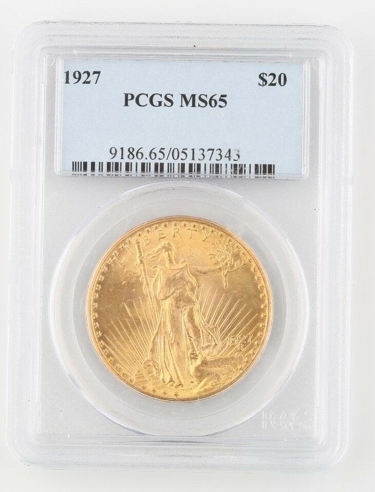 1927 US $20 Gold Saint-Gaudens Coin MS-65 PCGS Philadelphia Double Eagle KM-131