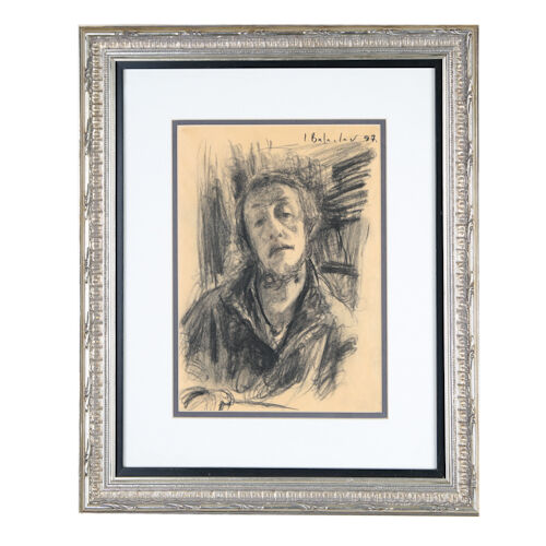 "Leonid Balaklav Self-Portrait Charcoal on Paper 19"" x 16"" Signed & Dated 1997"