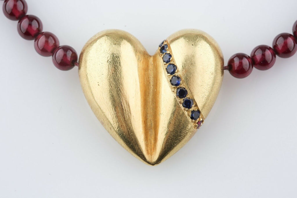 Kieselstein-Cord 18k Gold Heart Necklace w/ Ruby & Sapphire on Garnet Strand