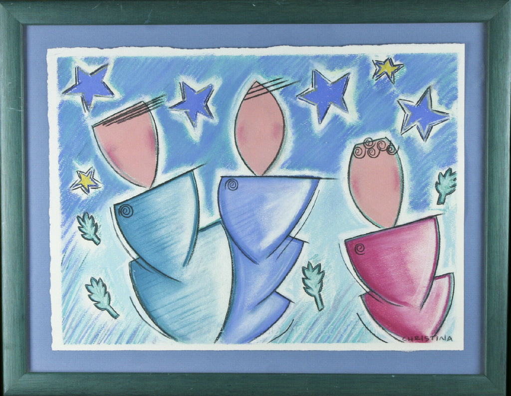 "Untitled (Figures and Stars)  Signed Abstract Pastel Framed 14 1/2""x18 1/2"""