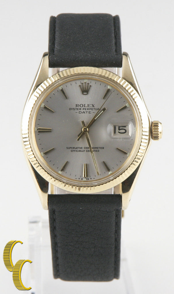 Rolex Oyster Perpetual Date #1503 14k Yellow Gold w/ Leather Band Men's Watch