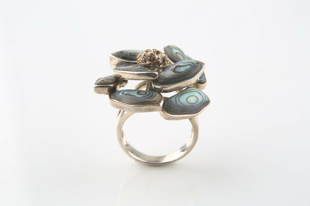 Big and Beautiful Sterling Silver Abalone Flower Ring