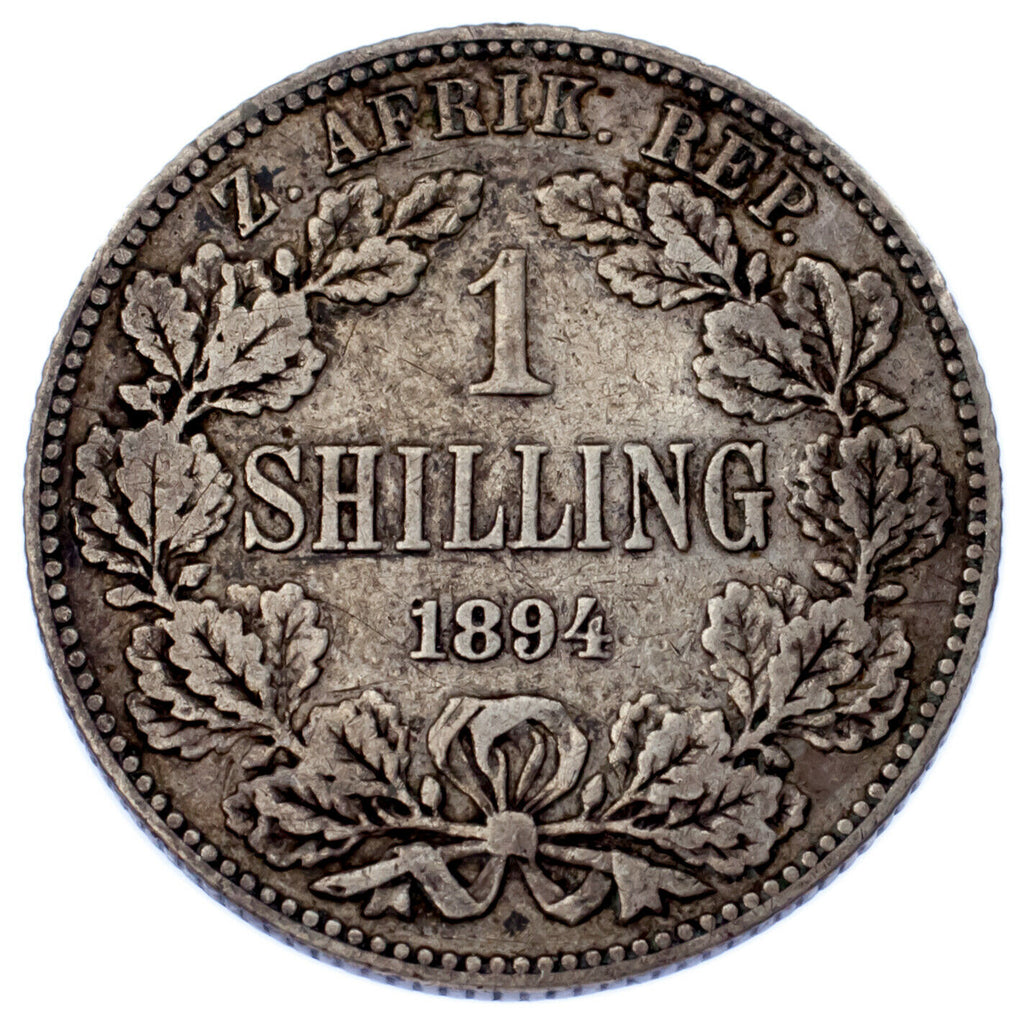 1894 South Africa Shilling Coin (VF) Very Fine KM# 5