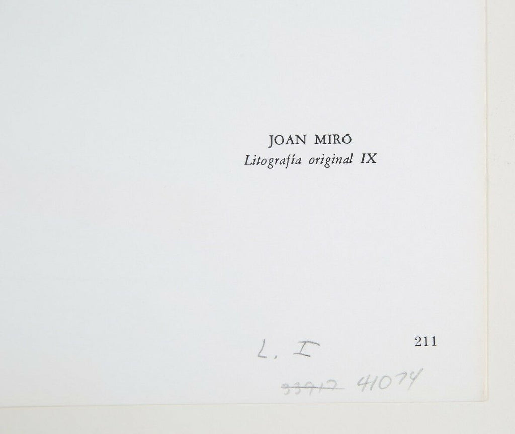 Lithograph from Book I, No. IX by Joan Miró i Ferrà 13 x 20 Includes CoA