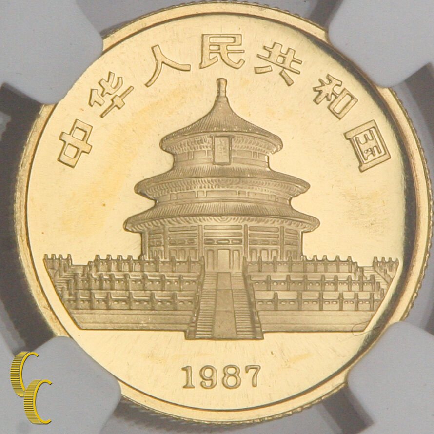 1987-S China G25Y Gold 1/4 Ounce Panda Graded by NGC as MS-68